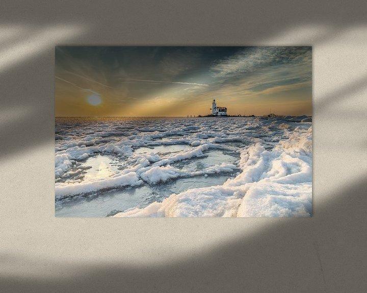 Impression: Lighthouse Paard van marken in wintertime sur Menno Schaefer