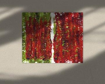 Groene en rode plant bladeren compositie von ART Eva Maria