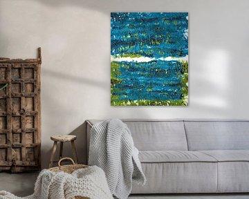 Grüne und blaue Pflanzenblätter gestalten landschaftlich von ART Eva Maria