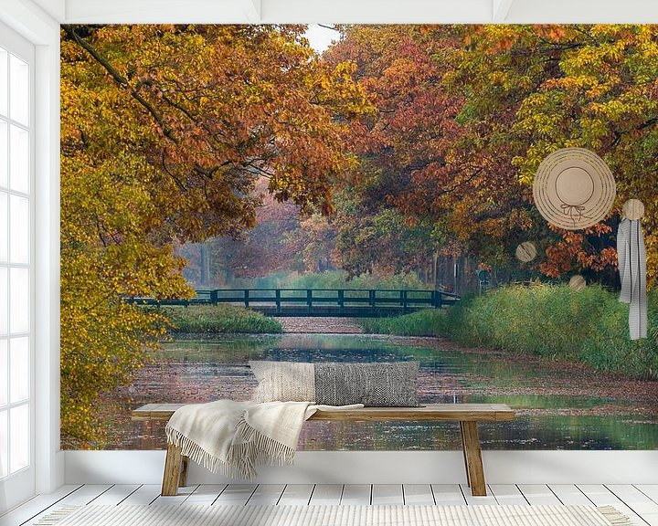 Sfeerimpressie behang: Apeldoorns Kanaal met herfstkleuren van Joop Gerretse