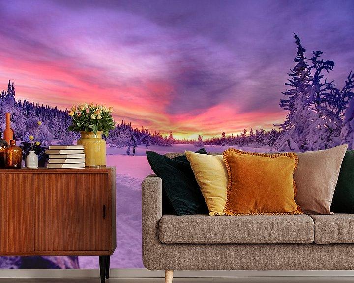 Sfeerimpressie behang: Zweedse zonsondergang bij een huskytocht van Kevin Pluk