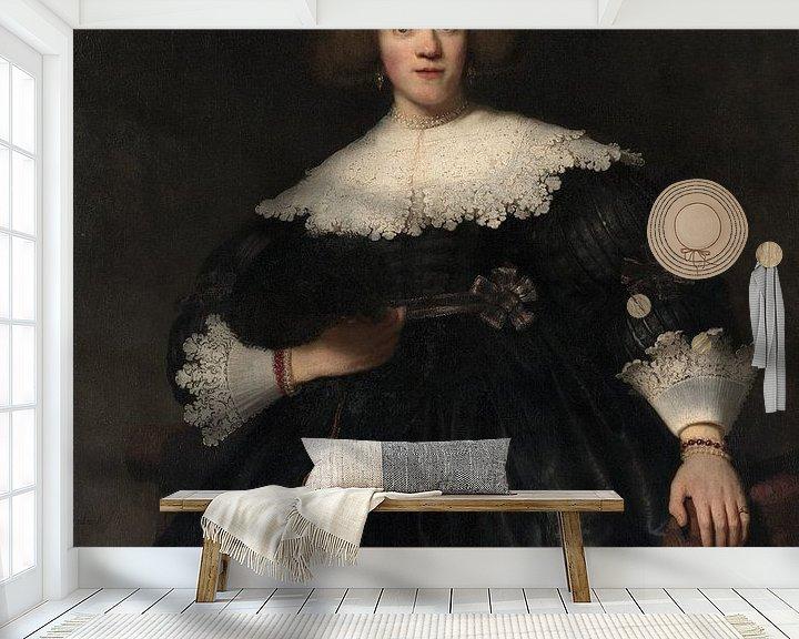 Beispiel fototapete: Portrait einer jungen Frau mit einem Fan, Rembrandt
