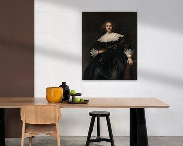 Portrait einer jungen Frau mit einem Fan, Rembrandt