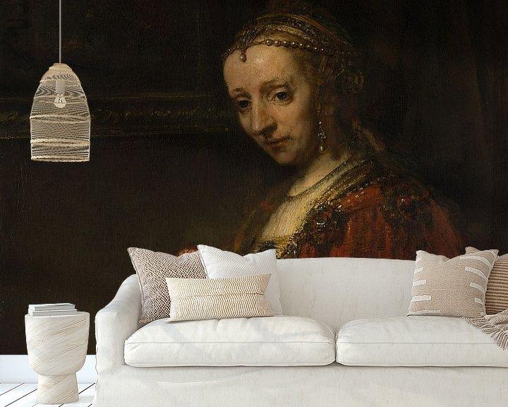Beispiel fototapete: Frau mit einem Rosa, Rembrandt