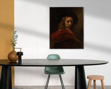 Mann in einem roten Mantel, Stil von Rembrandt