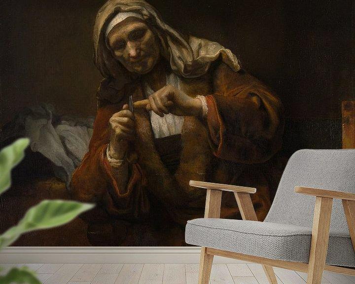 Beispiel fototapete: Alte Frauen-Ausschnitt ihre Nägel, Stil von Rembrandt