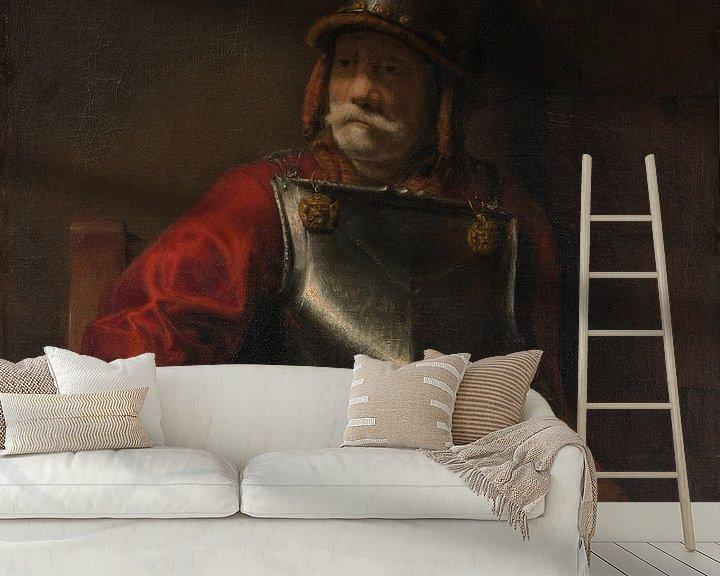Beispiel fototapete: Mann in der Rüstung (Mars?), Stil von Rembrandt