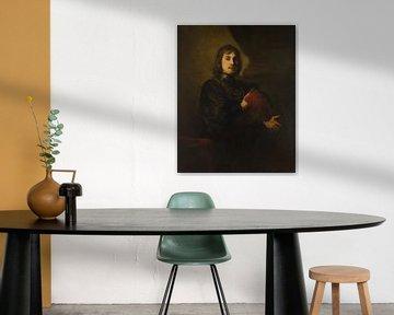 Porträt eines Mannes mit einem Brustpanzer und Federhut Stil von Rembrandt
