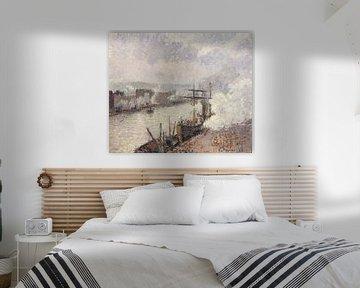 Steamboats im Hafen von Rouen, Camille Pissarro