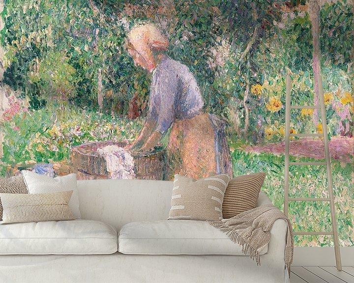 Beispiel fototapete: A Washerwoman bei Éragny, Camille Pissarro