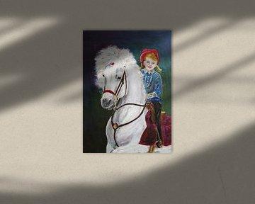 Circuskind op een witte hengst von Wunigards Photography