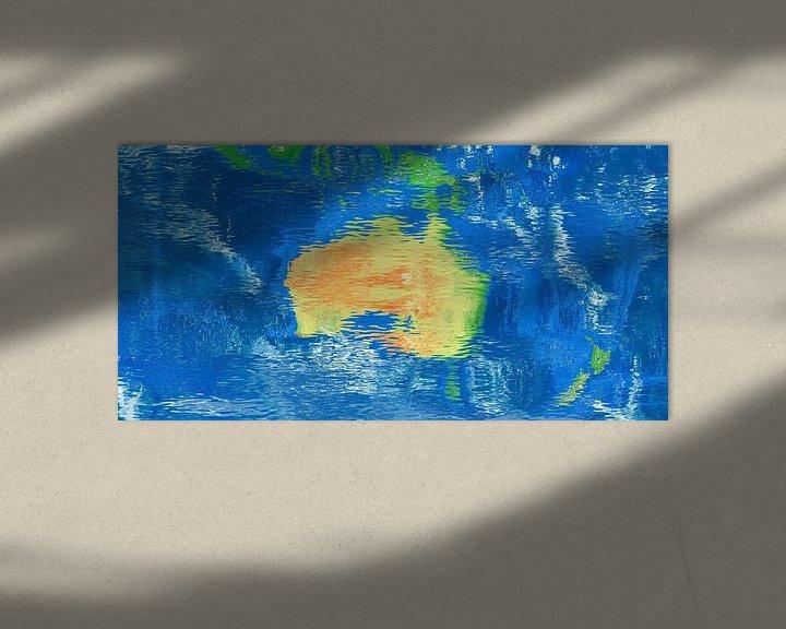 Sfeerimpressie: Waterspiegelkaart Australië van Frans Blok