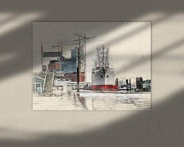 Hamburg, Elbphilharmonie und Museumsschiff Cap San Diego van Peter Roder