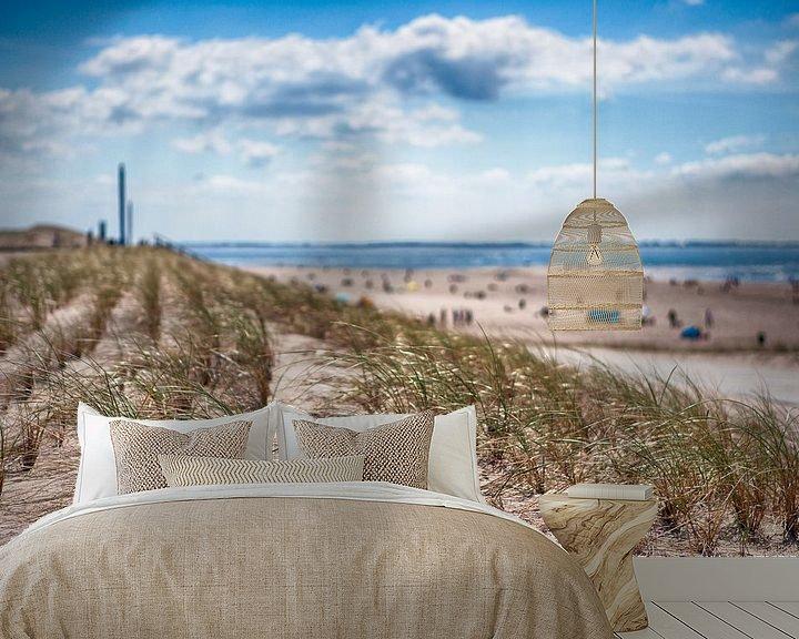 Sfeerimpressie behang: Strand Rotterdam van Rob van der Teen