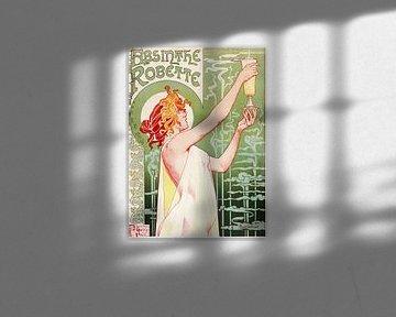 Ancienne affiche avec publicité pour la boisson à l'alcool, Absinthe sur Atelier Liesjes