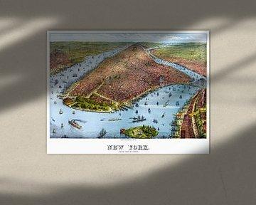 New York von 1879, Altes Plakat mit einem Bild der Stadt und der Insel in Amerika