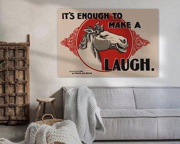Lustiges altes Plakat eines lachenden Pferds von 1896