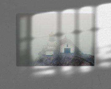 Mistige vuurtoren bij Point Reyes, Californië, VS van Kaat Zoetekouw