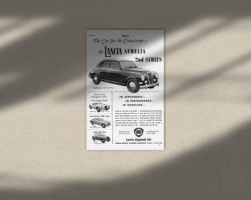alte britische Werbung des Lancia Aurelia von 1956 von Atelier Liesjes