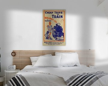 Werbeplakat für touristischen Ferien mit dem Zug in Neuseeland, 1933