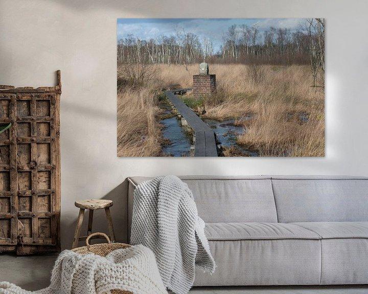 Sfeerimpressie: Grenspaal in natuurreservaat het Wooldse veen in Winterswijk van Tonko Oosterink