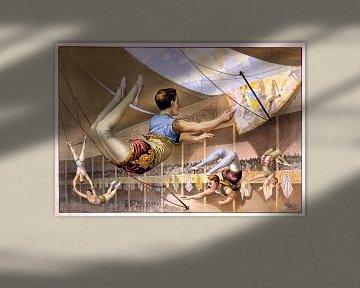 Plakat eines Zirkus mit Akrobaten auf einem Trapez, 1890