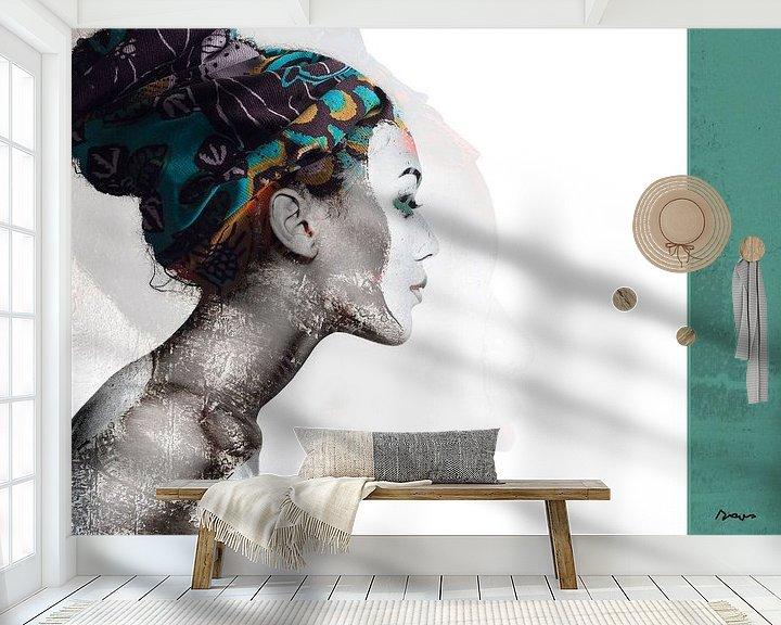 Sfeerimpressie behang: 21.  silhouet, portret, vrouw, Meta. van Alies werk