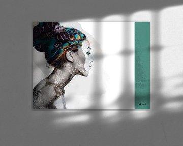21.  silhouet, portret, vrouw, Meta. van Alies werk