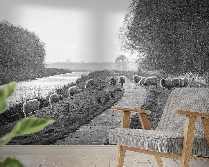 Sfeerimpressie behang: Schapen op de dijk (BW) van Martzen Fotografie