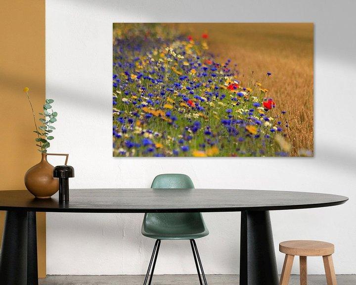 Impression: Tarwe akker naast berm met veldbloemen. sur Anneke Hooijer