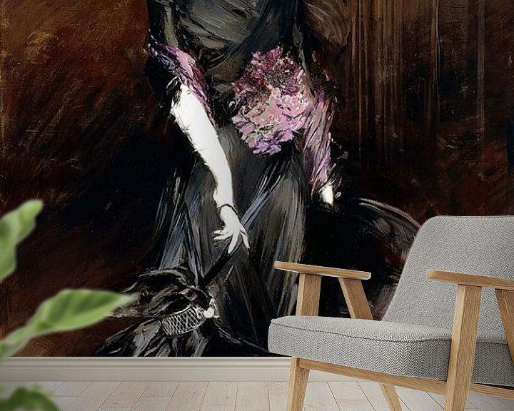Sfeerimpressie behang: Marchesa Luisa Casati with a Greyhound, Giovanni Boldini