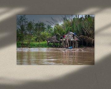Wonen op de oever van de Mekong, Vietnam van Rietje Bulthuis