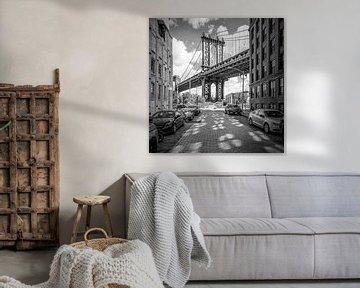 NEW YORK CITY Manhattan Bridge | Zwart-wit  van Melanie Viola