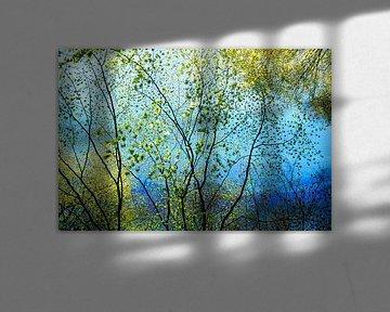blauw landschap in de lente van Hanneke Luit