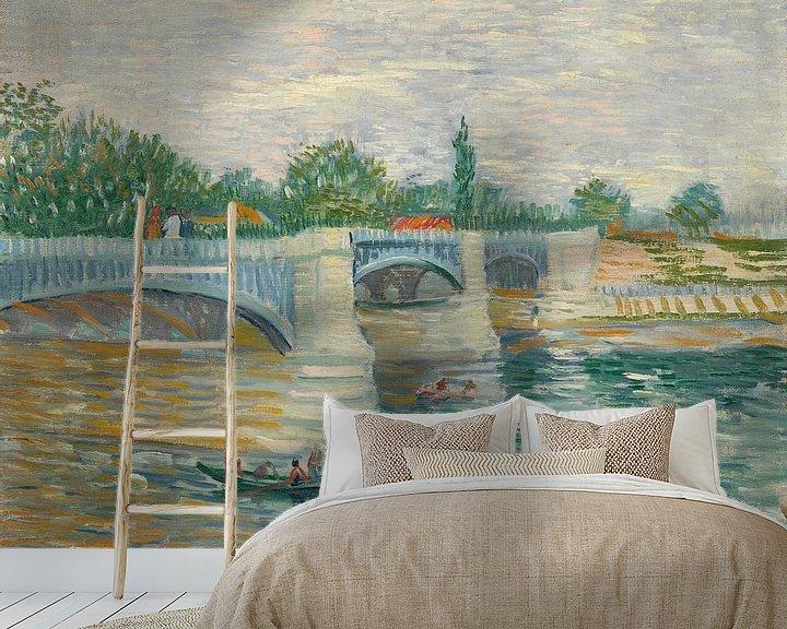 Sfeerimpressie behang: Vincent van Gogh, De brug bij Courbevoie
