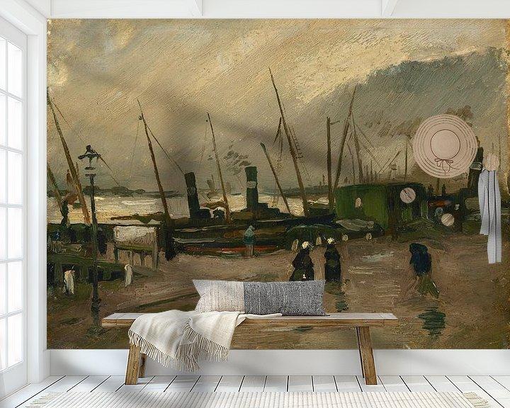 Sfeerimpressie behang: Vincent van Gogh, De Ruijterkade te Amsterdam