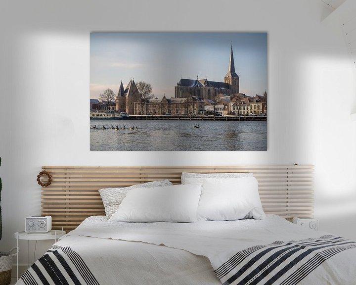 Sfeerimpressie: Het IJsselfront van Kampen op een koude winterochtend van Gerrit Veldman