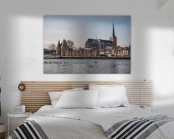Die IJsselfront von Kampen an einem kalten Wintermorgen von Gerrit Veldman