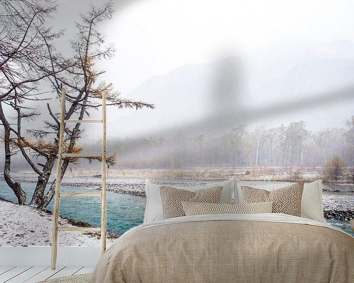 Sfeerimpressie behang: Turqoise water: winter in Kamikōchi Japan fotoprint van Manja Herrebrugh - Outdoor by Manja