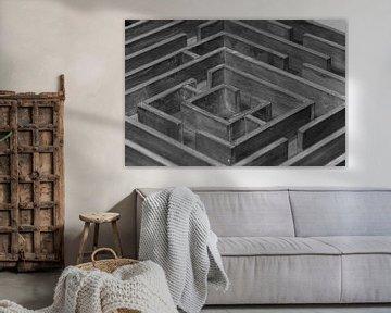 Schwarz-weißes Labyrinth von Mauern von Patrick Verhoef