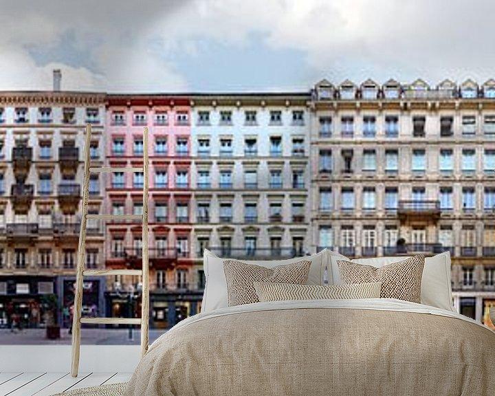 Sfeerimpressie behang: Lyon Rue Victor Hugo Architecture Panorama van Panorama Streetline