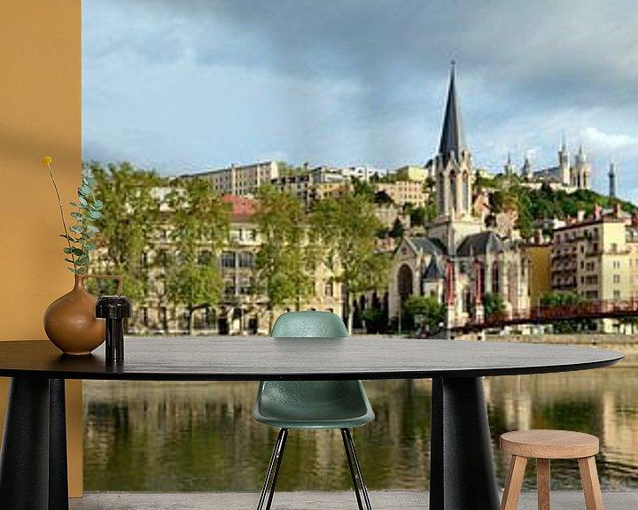 Beispiel fototapete: Lyon Quai Fulchiron Panorama von Panorama Streetline