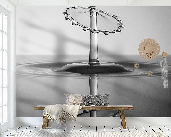 Sfeerimpressie behang: Zwart/Wit Splash Art met reflectie van Marc Piersma