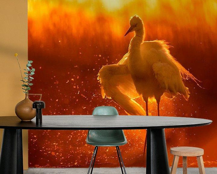 Sfeerimpressie behang: Grote Zilverreiger ( Egretta alba) zonnebadend. van AGAMI Photo Agency
