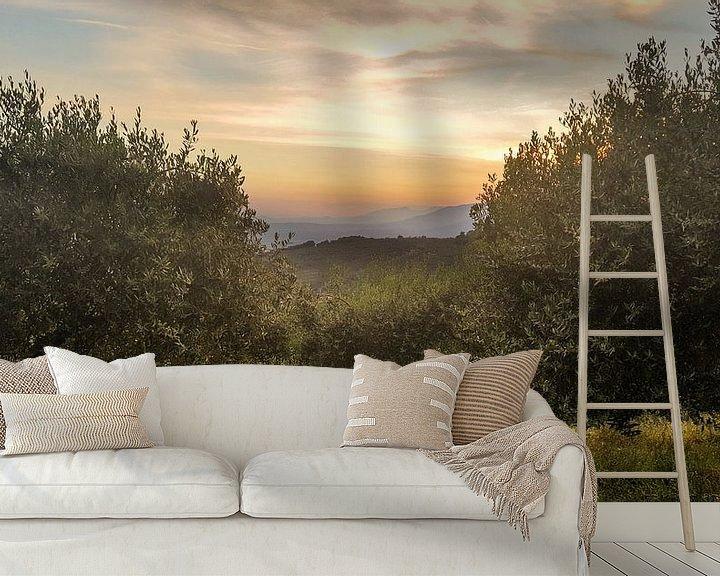 Sfeerimpressie behang: Toscane - Italie Zonsondergang van Erik van 't Hof
