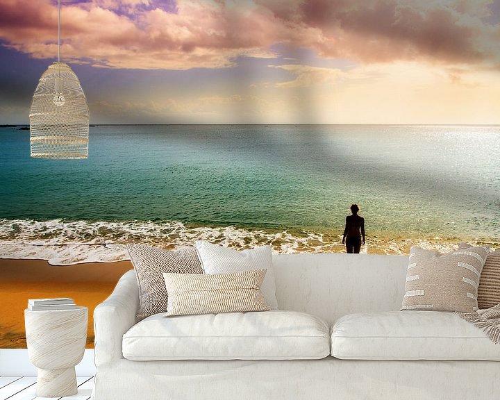 Sfeerimpressie behang: Sunset beach thoughts van Dennis van de Water