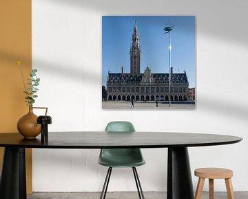 Ladeuzeplein Leuven met universiteitsbibliotheek, vierkant van Manuel Declerck