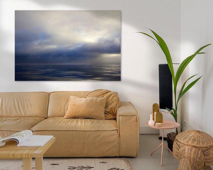 Sfeerimpressie: Wolken over de oceaan bij Monterey Bay, California van Beschermingswerk voor aan uw muur