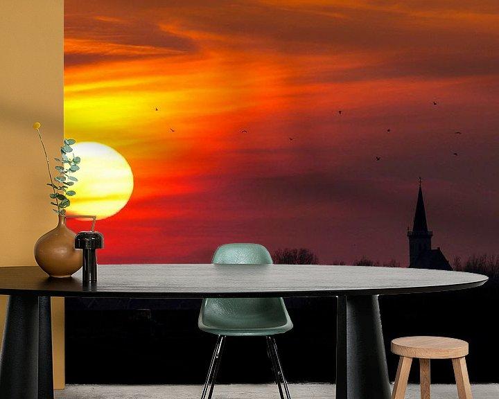 Sfeerimpressie behang: Zonsondergang boven Den Hoorn, Texel van Beschermingswerk voor aan uw muur
