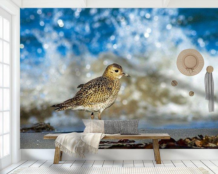 Sfeerimpressie behang: Goudplevier staand op strand van Beschermingswerk voor aan uw muur